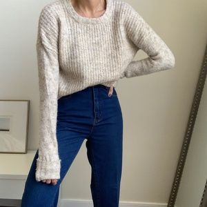 Heathered Pulled Hem Cozy Knit Sweater
